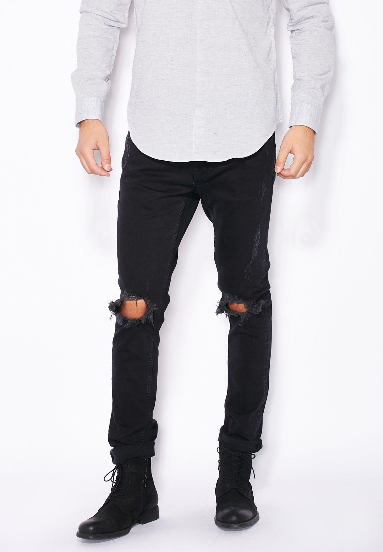 ebbd2c9ca0 Shop Only sons black Warp Slim Fit Dark Wash Ripped Jeans for Men in ...