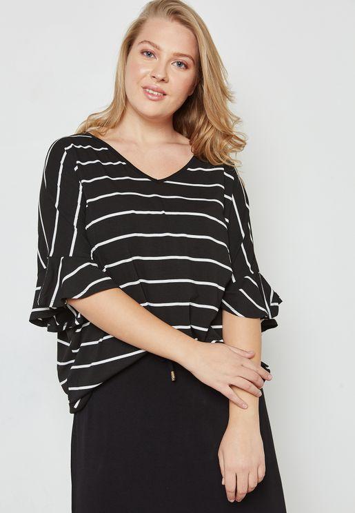 V-Neck Flute Sleeve Striped Top