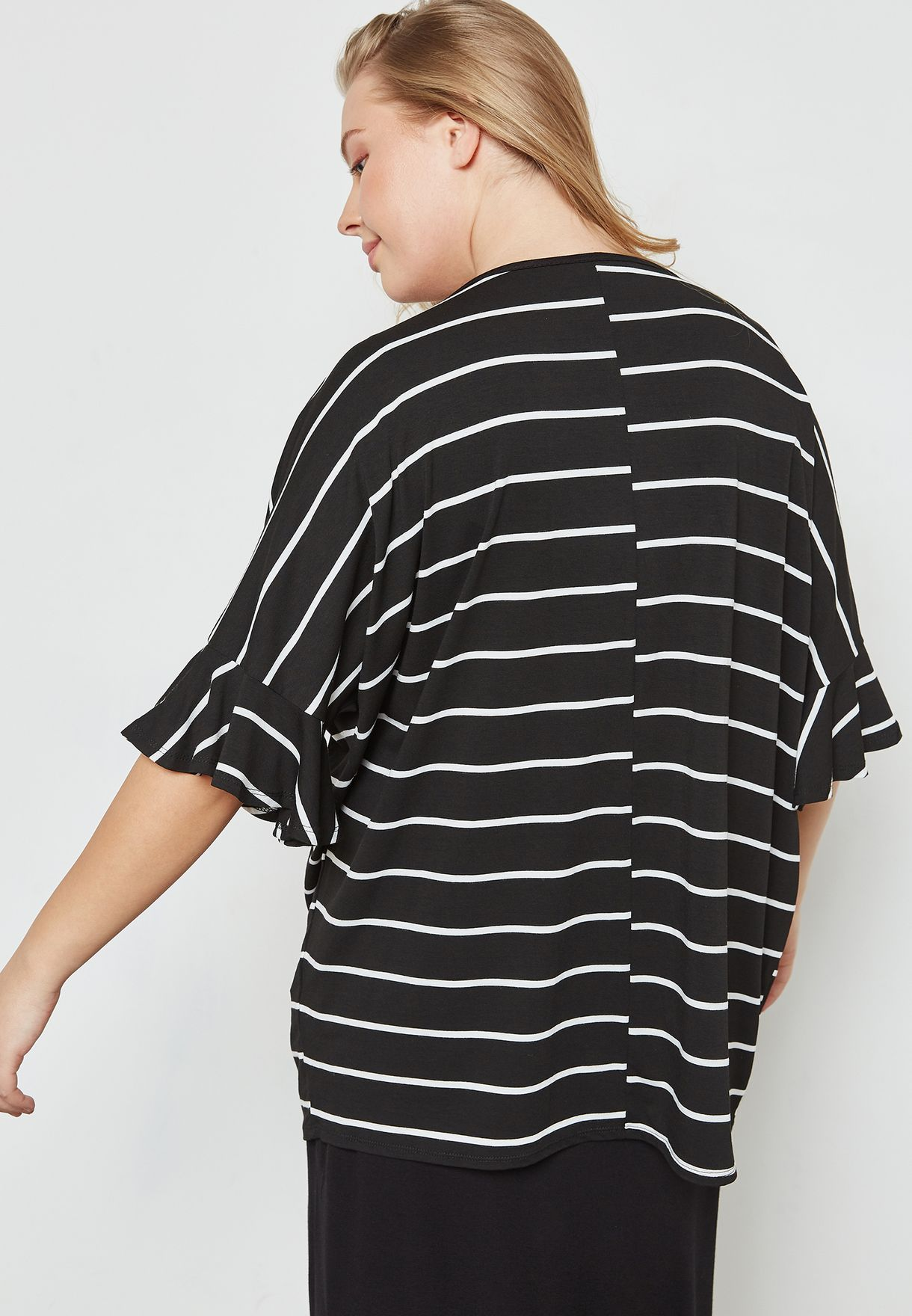 V-Neck Flute Sleeve Striped Top