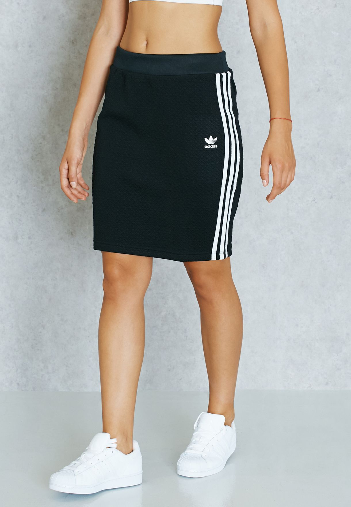 caee7c6fa Shop adidas Originals black 3 Stripe Skirt AY6589 for Women in UAE ...
