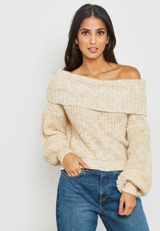 Long Sleeve Knitted Bardot Sweater