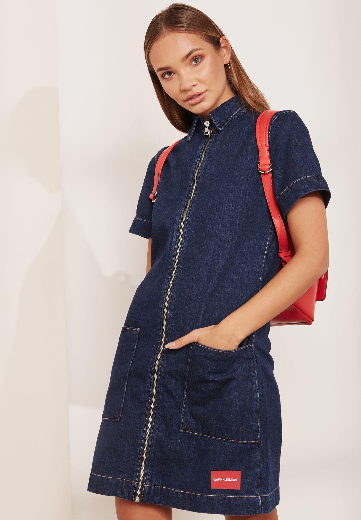 cce596fb604 Shop Calvin Klein Jeans blue Zip Front Denim Dress J20J207734 for ...