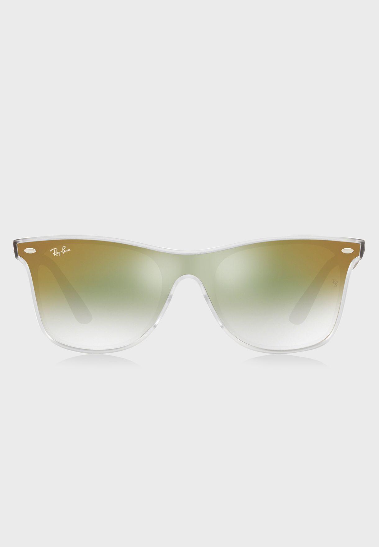 a7a84fa484 Shop Ray-Ban green 0RB4440N Blaze Wayfarer Sunglasses 8053672919103 ...