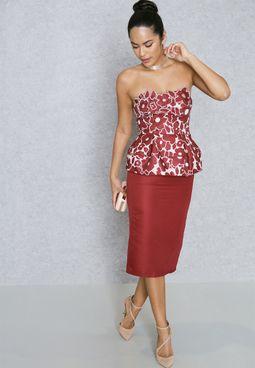 Peplum Detail Bandeau Dress
