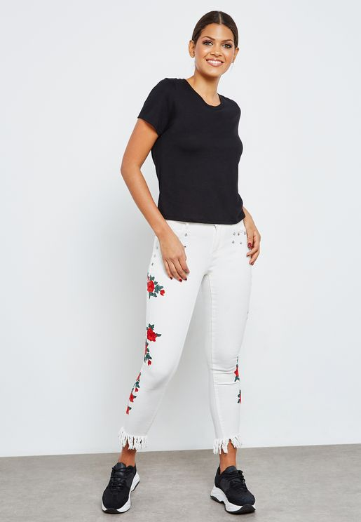 Frayed Hem Embroidered Skinny Jeans