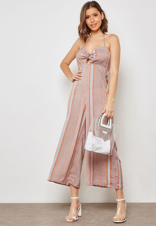 Striped Halterneck Detail Jumpsuit