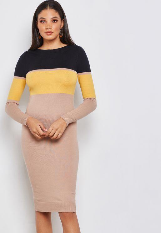 Colourblock Knitted Midi Dress