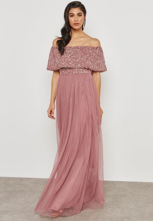 Embellished Top Bardot Dress