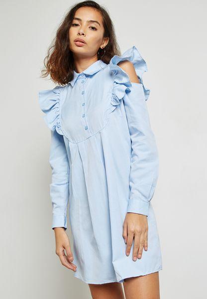Ruffle Cold Shoulder Shirt Dress