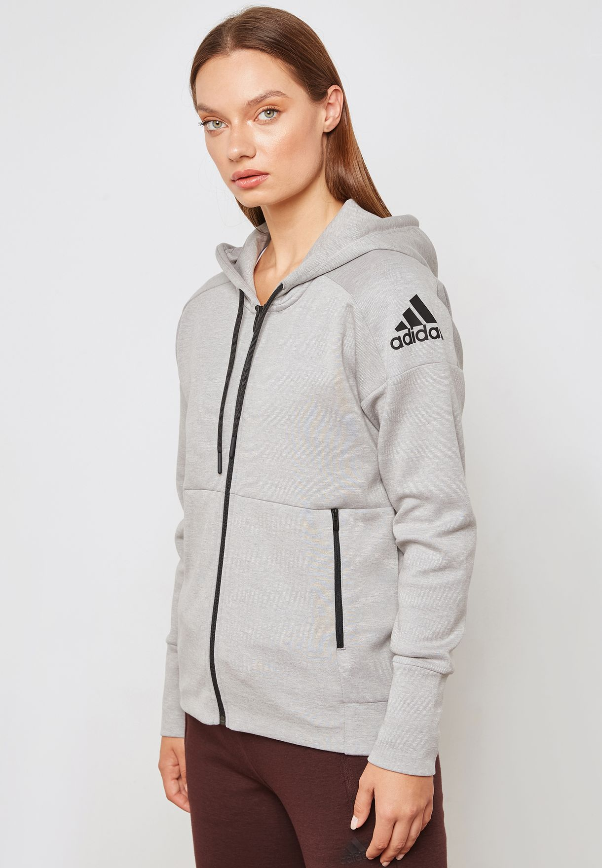 Shop adidas grey ID Stadium Hoodie CZ2938 for Women in UAE ... db0e77616f