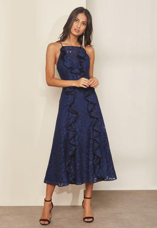 Ruffle Detail Lace Midi Dress