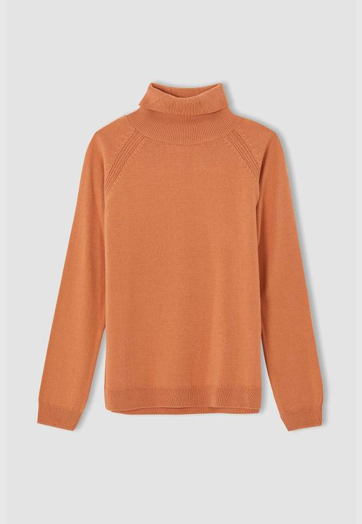 Girl Regular Fit Mock Neck Pullover