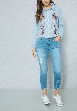 Slogan Raw Hem Skinny Jeans