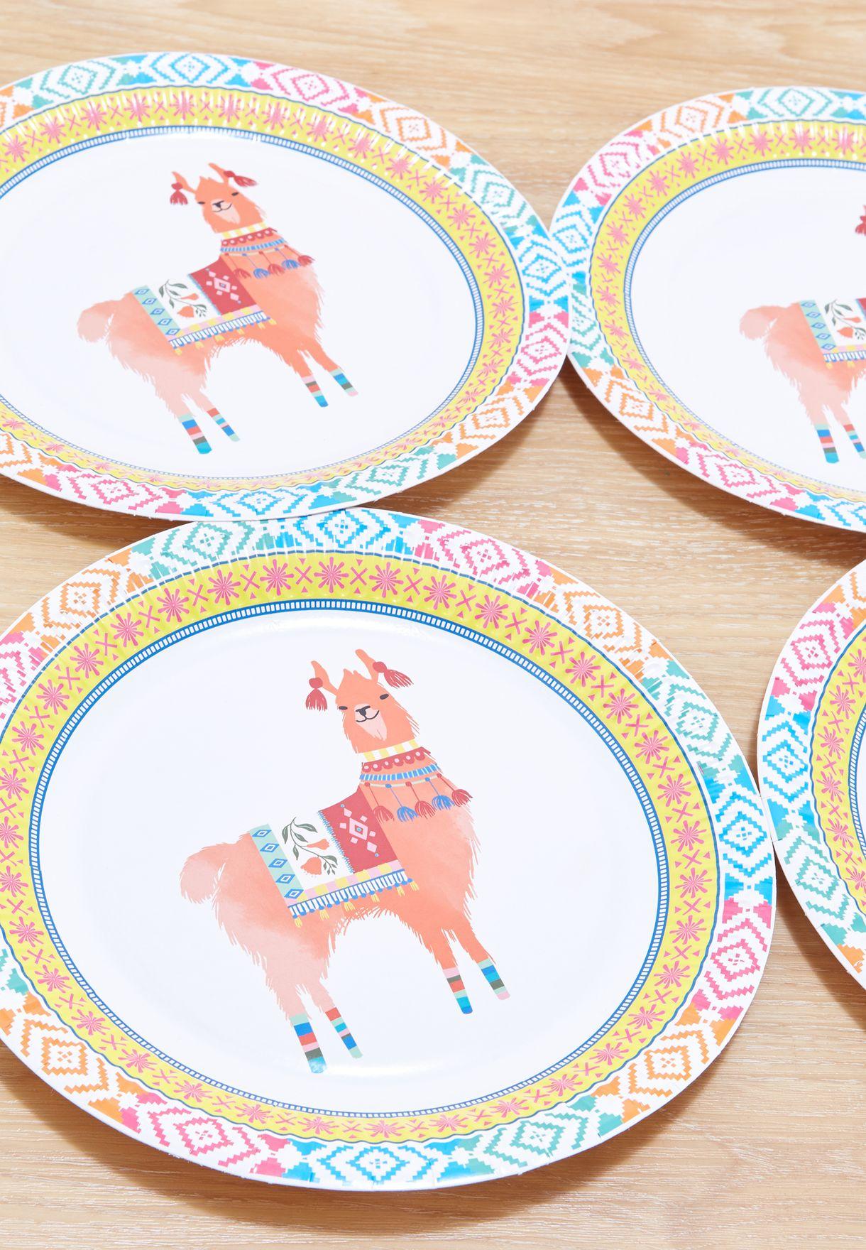 8 Pack Round Boho Mix Llama Plates