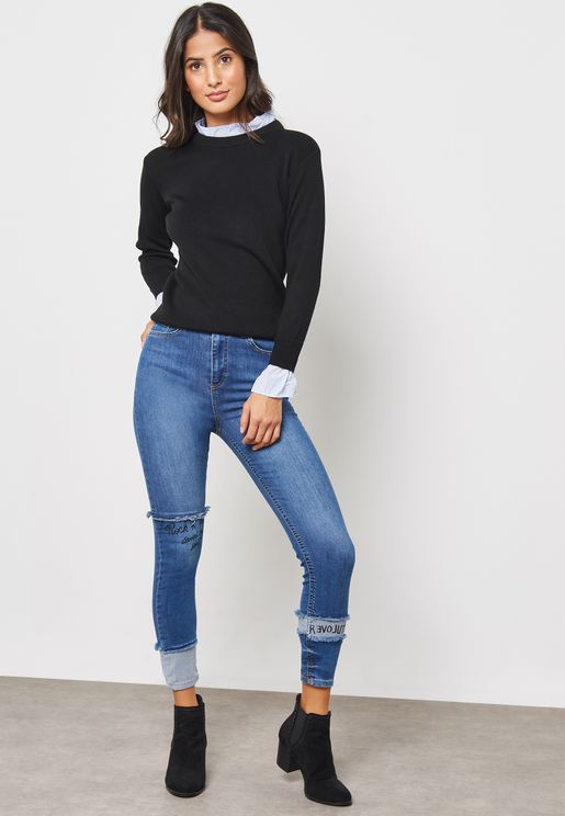 Slogan Detail Skinny Jeans