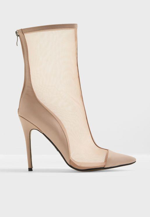 Spike Mesh Stiletto Heel Ankle Boot