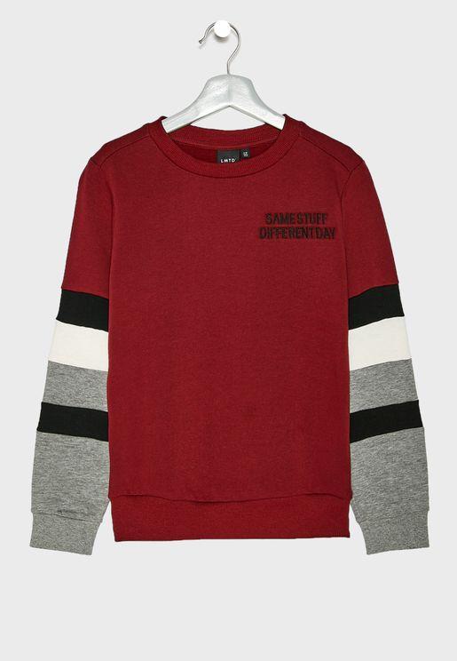 Teen Striped Sleeve Sweatshirt