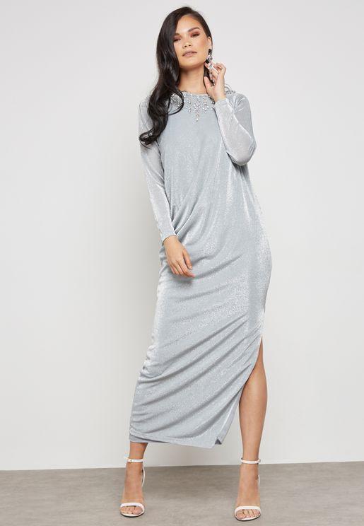 Embellished Shimmer Maxi Dress