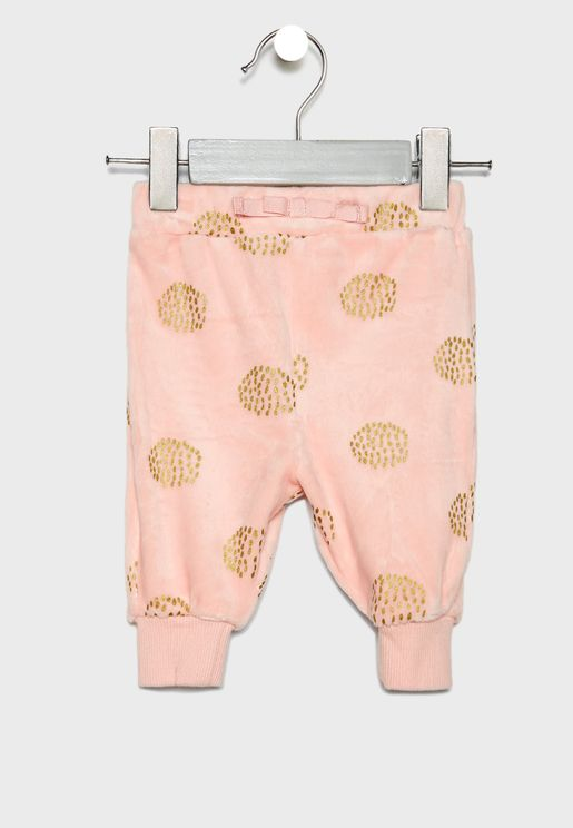 Infant Dot Velour Sweatpants