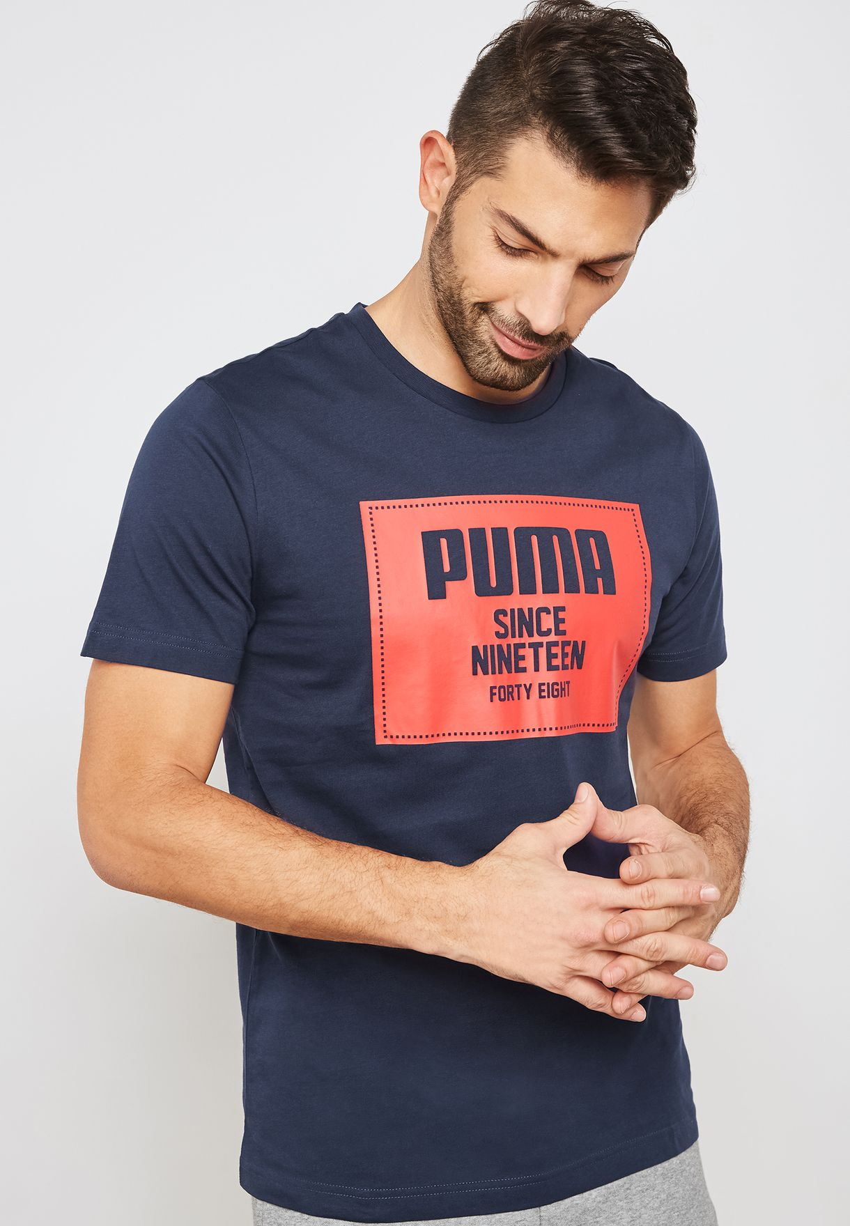 04ee50099222 Shop PUMA navy Rebel Block Basic T-Shirt 85239506 for Men in UAE ...
