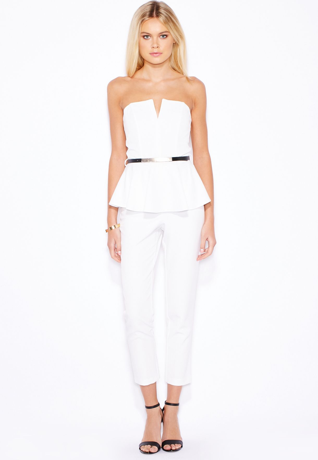 5cd4604f368a Shop Miss Selfridge Petite white PETITE Peplum Jumpsuit 34A05SIVR ...