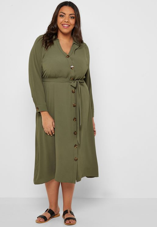 Asymmetric Horn Button Maxi Shirt Dress