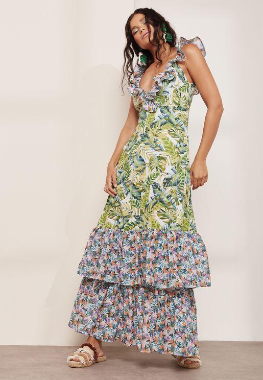 Amanda Ruffle Printed Dress