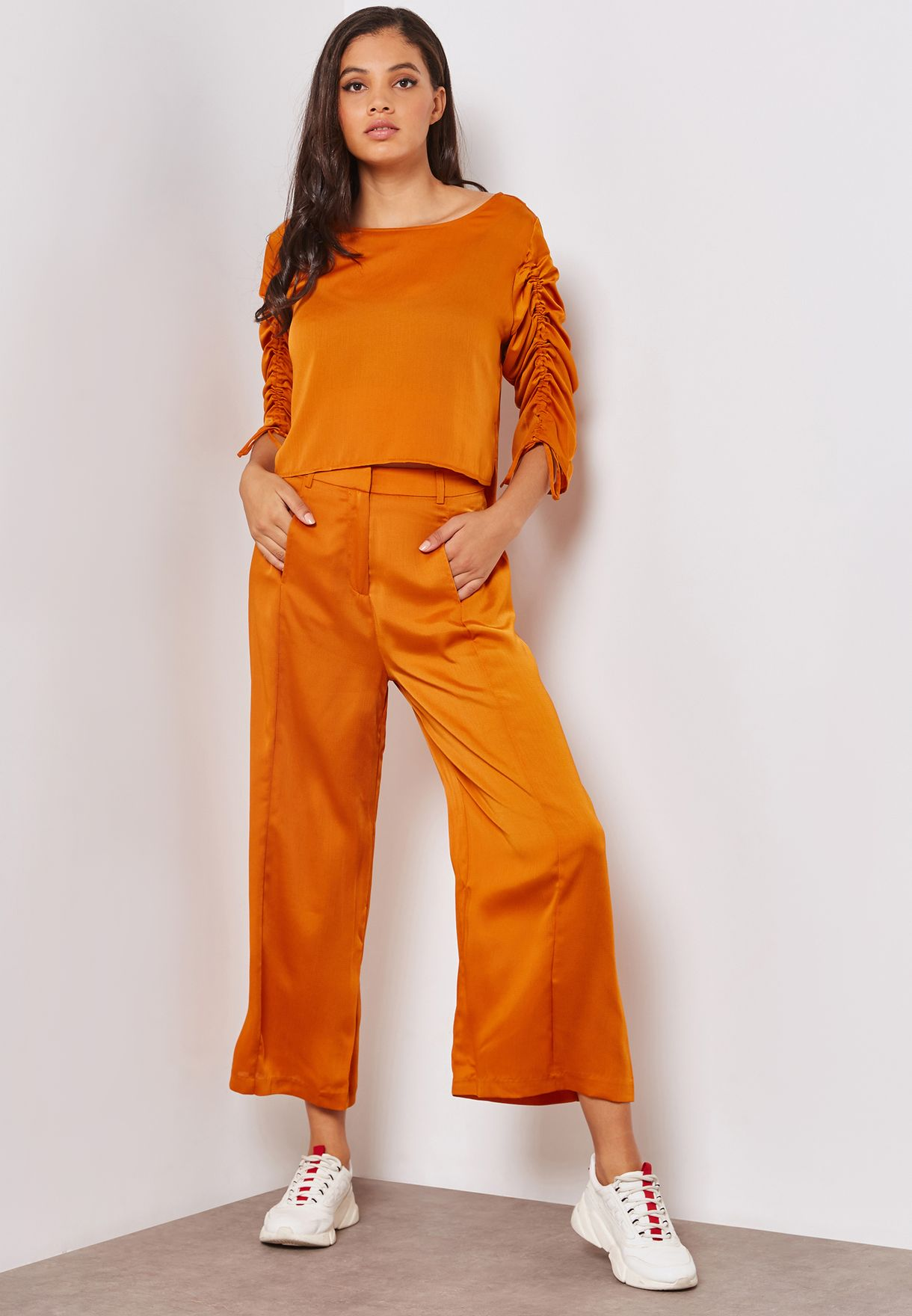 Satin Wide Leg Panelled Pants Co-ord