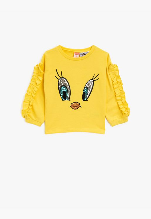Tweety Licensed Sequinned Cotton Crew Neck Frilled Sweatshirt