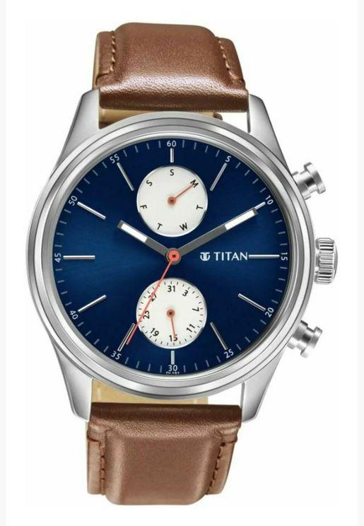 ساعة تيتان للرجال المنت مينا ازرق جلد تان - T1805SL06