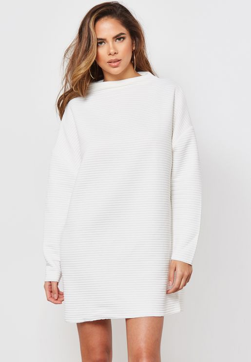 Oversized High Neck Ribbed Midi Dress