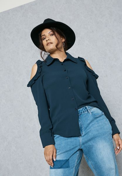 Tie Neck Ruffle Cold Shoulder Shirt