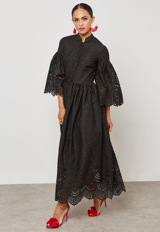 Laser Hem Sleeve Dress