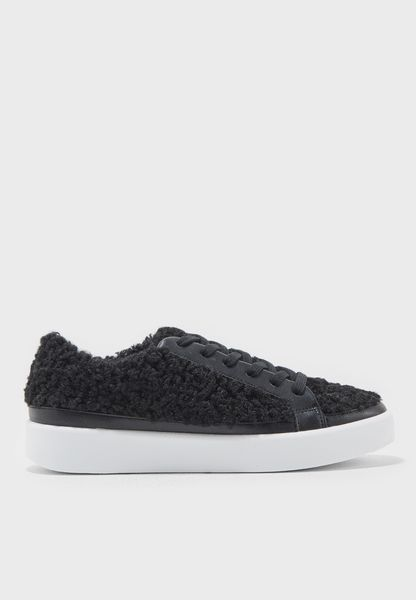 Curly Fauv Fur Lace Up Sneaker