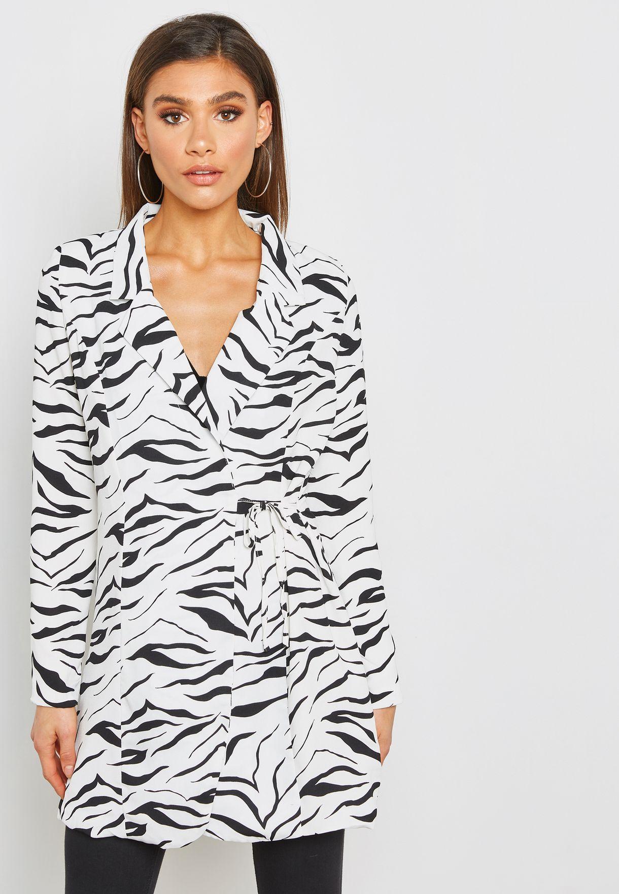 731d52251cb Shop Missguided monochrome Zebra Print Tie Side Blazer Dress ...