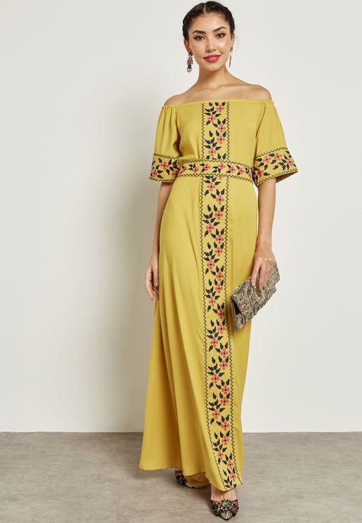 Embroidered Bardot Self Tie Dress