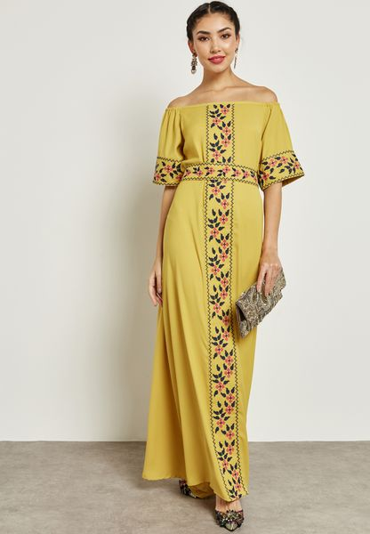 Embroidered Bardot Self Tie Dress