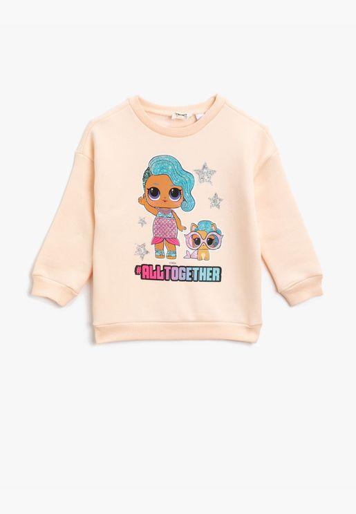 Cotton Lol Suprise Licensed Printed Crew Neck Sweatshirt