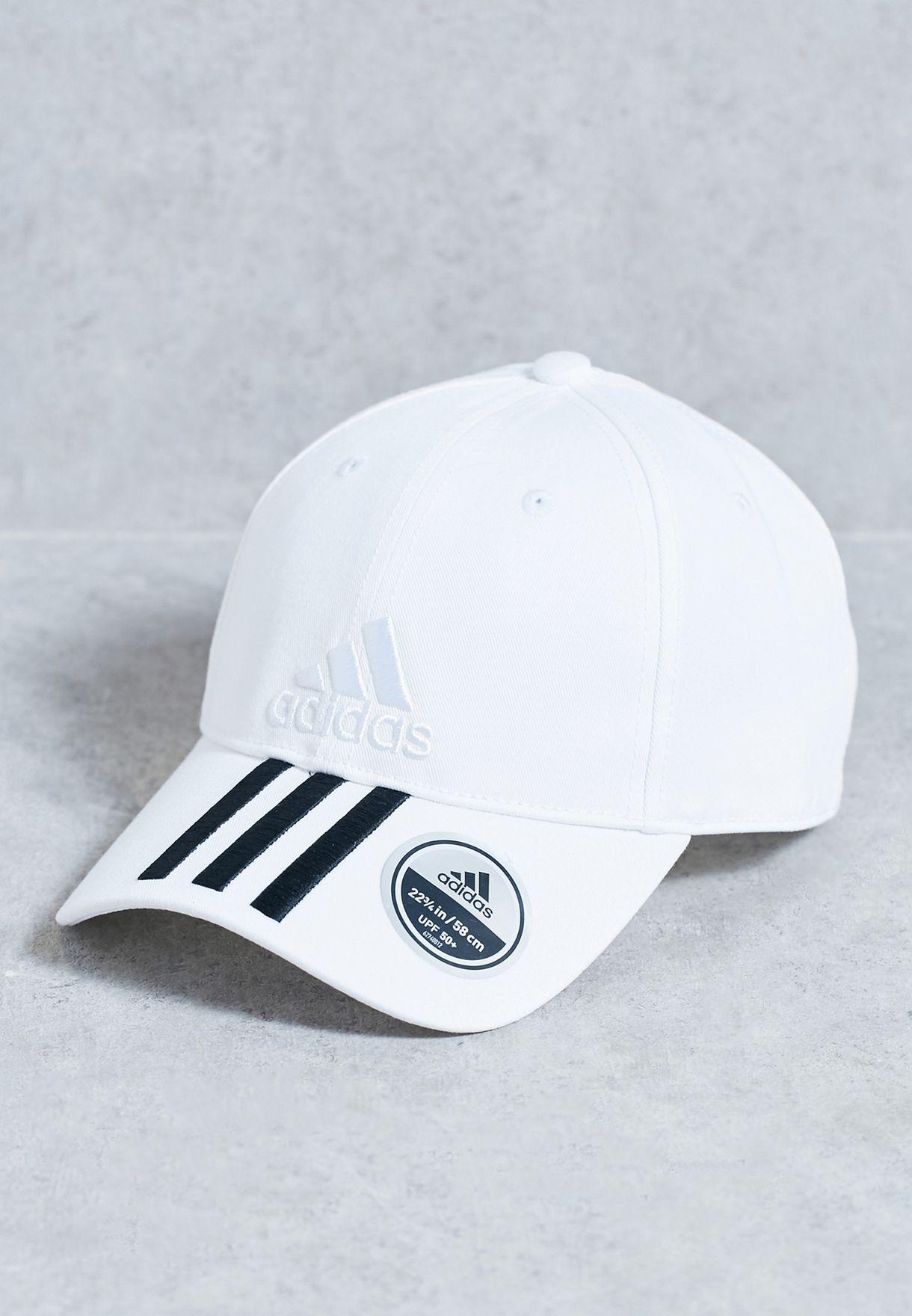86aa775543b Shop adidas white 6 Panel 3 Stripe Cap BK0806 for Men in UAE - AD476AC68KRR