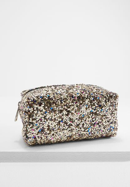 Multi Glitter Half Zip Cosmetic Bag