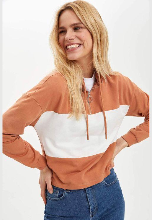 Woman Knitted Regular Fit Hoodie Sweat Shirt