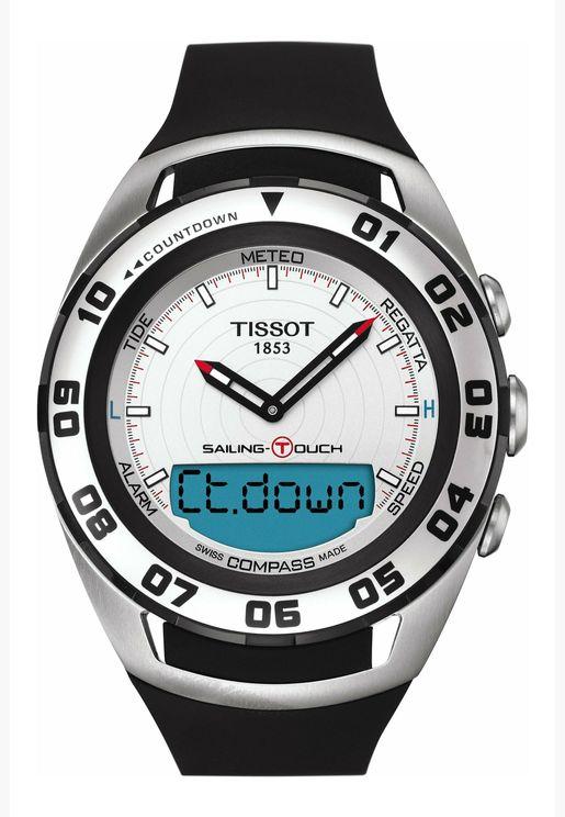 ساعة تيسو سايلنج تاتش بسوار سيليكون للرجال - T056.420.27.031.00.00