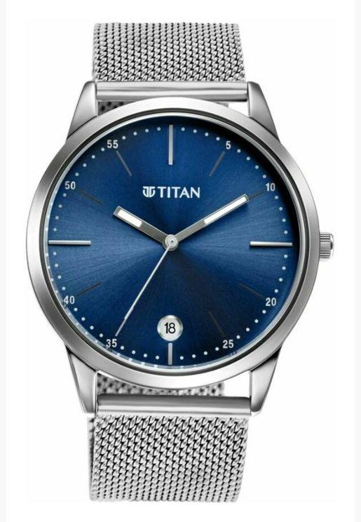 ساعة تيتان للرجال المنت زرقاء من الستانلس ستيل الفضي - T1806SM04