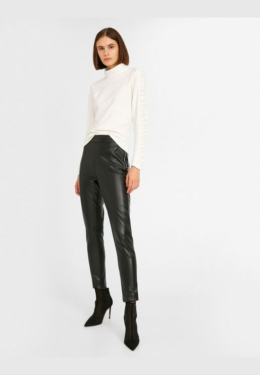 Zip Detailed Leather Look Trousers