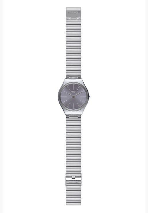 ساعة سواتش جلد ايروني 38 بسوار ستانلس ستيل للجنسين - SYXS123GG