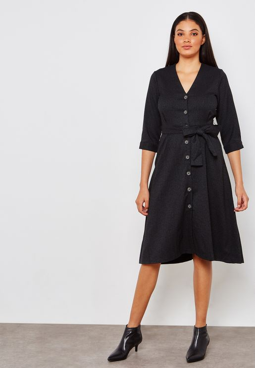 Button Detail Belted Long Sleeve Mini Dress