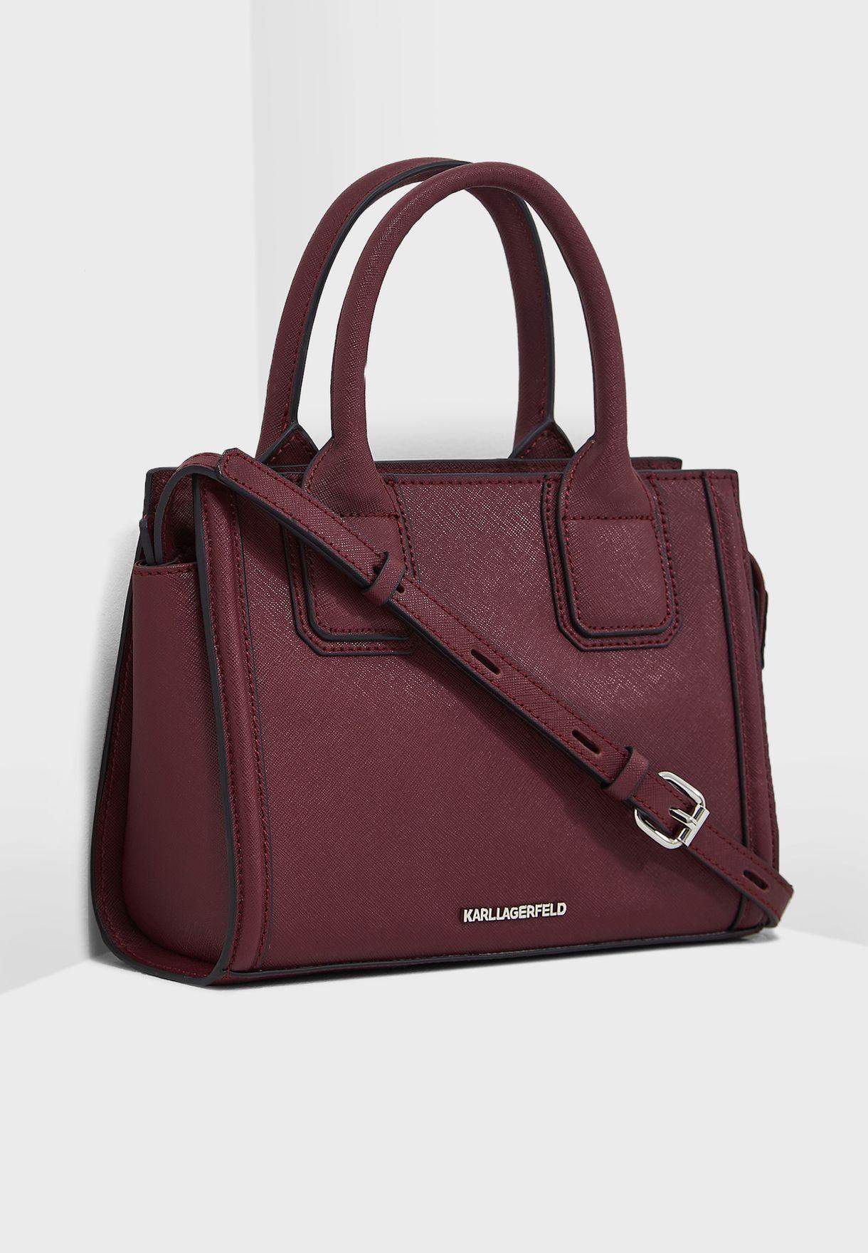 b823998a145c Shop Karl Lagerfeld burgundy Klassik Mini Tote 86KW3004-505 for ...