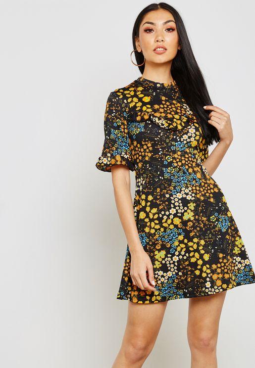 High Neck Floral Print Mini Dress