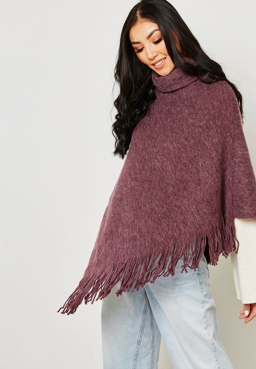 High Neck Fringe Poncho