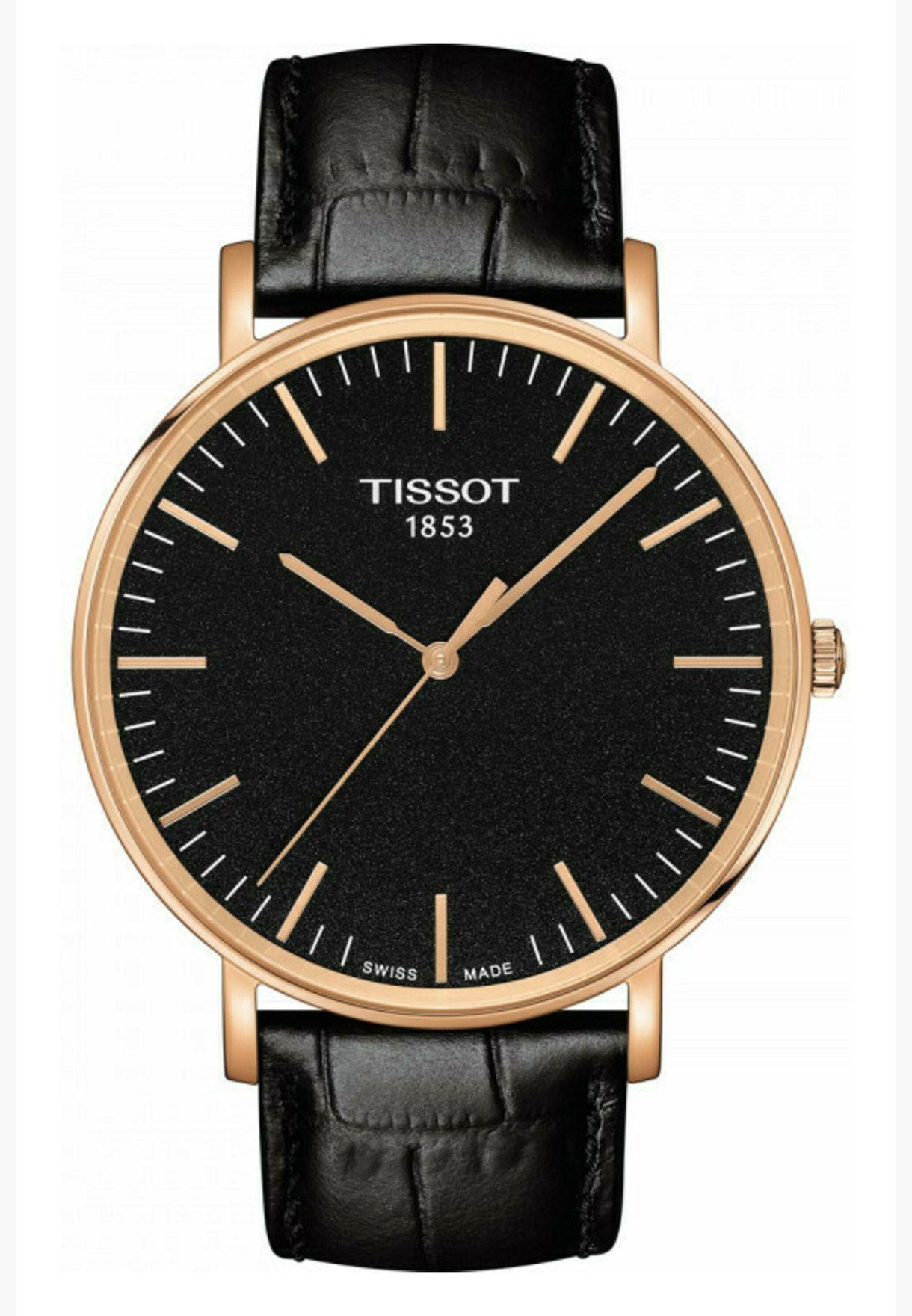 ساعة تيسو ايفري تايم ديزاير بسوار جلدي - T109.610.36.051.00